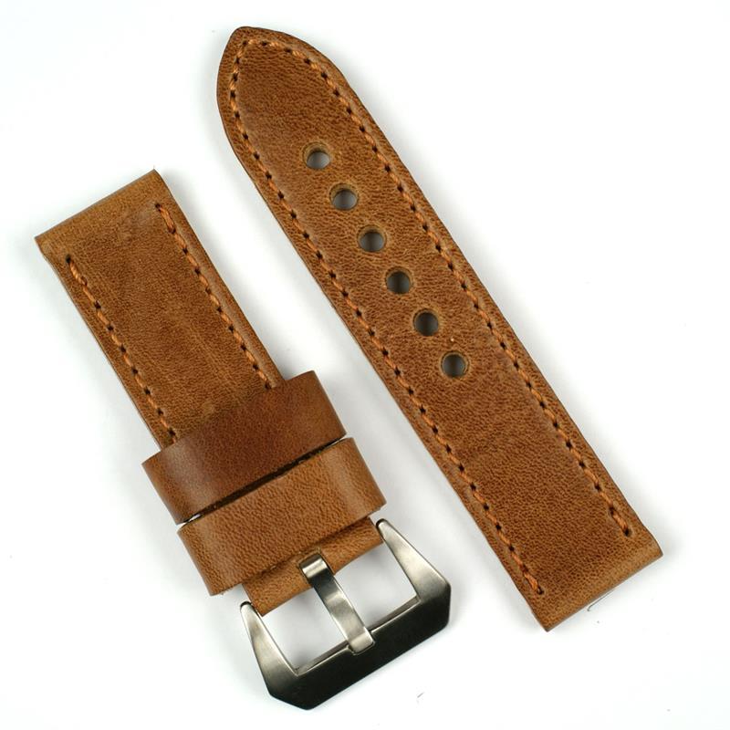 Italian Bands: 24mm Oak Italian Leather Watch Band