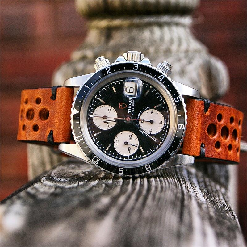 20mm Cognac Classic Vintage Racing Leather Watch Strap B