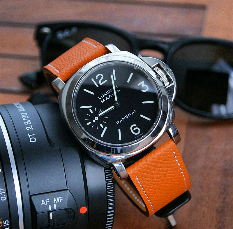 Panerai Style Watch Band Orange Textured Calf Leather B