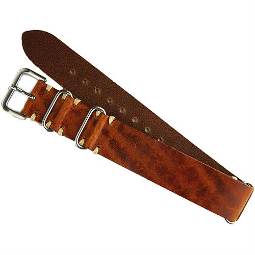 BandRBands Leather Nato Watch Strap Band made from Cognac Italian Leather with ecru minimal stitching
