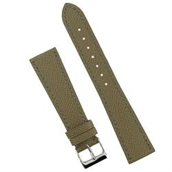 Taupe Hermes Watch Band Strap made from French Leather with white stitching 18mm 19mm 20mm BandRBands