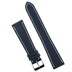 BandRBands 20mm Navy Hermes style Watch Band Strap made from French Leather with white stitching