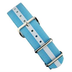 BandRBands 18mm 20mm 22mm Nato Watch Strap Band in baby blue & white