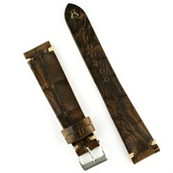 18mm Bark Classic Vintage Croco Watch Strap Band with ecru stitching