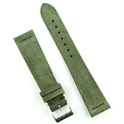 22mm Green Vintage Suede Watch Strap Band with matching stitches