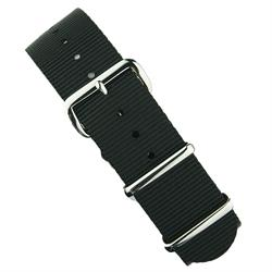 Black Nylon Nato Watch Strap Band with stainless steel hardware 18mm 20mm 22mm