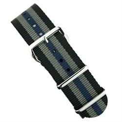 BandRBands 18mm 20mm 22mm Bond Nato Strap with a blue stripe and stainless steel hardware