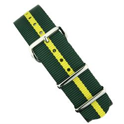 B & R Bands 18mm 20mm 22mm Hunter Green/Yellow Nylon Watch Strap Band with stainless steel hardware