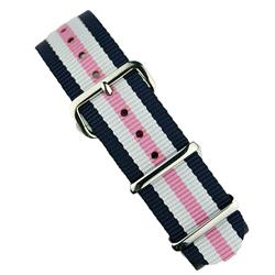 BandRBands 18mm 20mm 22mm Nato Watch Strap Band in white & pink with stainless steel hardware