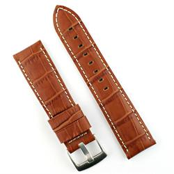 24mm watch Band Strap in Honey Leather Gator Design with White stitching