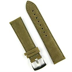 20mm Olive Sueded Leather Watch Strap Band with a classic matching stitch