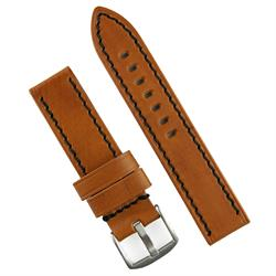 24mm Watch Band Strap in Tan Vintage wood leather with black stitching