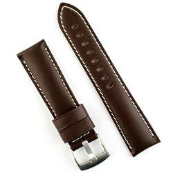 22mm Brown Calf Leather Watch Band Strap with white stitching