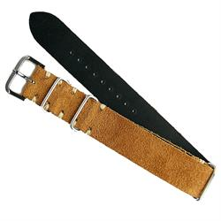 20mm Camel Vintage Suede Leather Nato Strap Band BandRBands