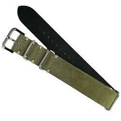 Olive Suede Nato Strap Band made from Italian Leather with ecru stitching 20mm BandRBands