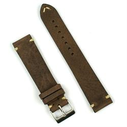 22mm Brown Vintage Leather Watch Band Strap with Ecru Stitching