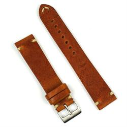 20mm Vintage Watch Band Strap in Cognac Leather with Classic ecru stitch