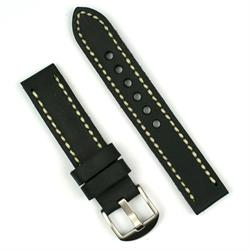 22mm vintage watch band strap in black oiled leather with an ivory stitch