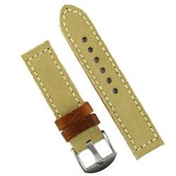 24mm Khaki Canvas Watch Band Strap