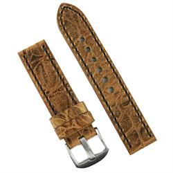24mm Vintage gator watch band strap made from Brown Italian leather with a matching stitch sewn by hand BandRBands