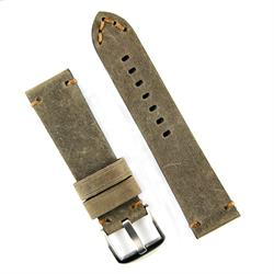 24mm Military Vintage Watch Band Strap in a Brown Crazy Horse Leather