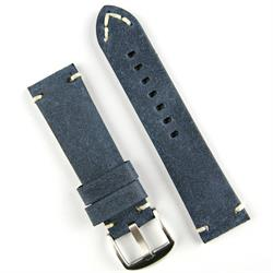 24mm Blue Vintage Leather Watch Band Strap with handsewn Ivory Stitching