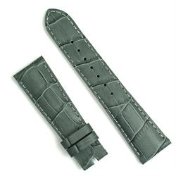 22mm gray gator leather watch band for deployant buckles