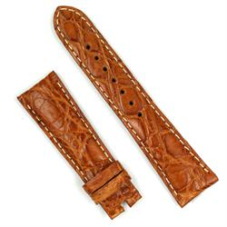 22mm light brown croco leather watch band for deployant buckles
