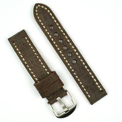 22mm vintage Watch Band Strap in scratched saddle leather with ivory stitching