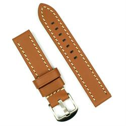 24mm tan leather watch band with white stitching