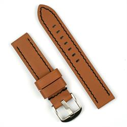 24mm leather watch band in tan leather with black stitching