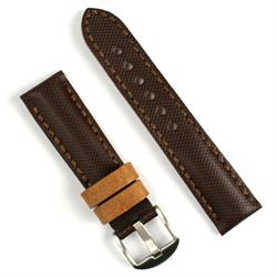 22mm brown tartan watch band with oak leather