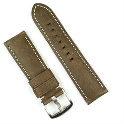 24mm leather watch band strap in brown bomber leather with white stitching