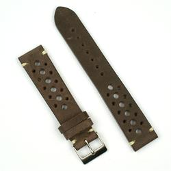 22mm vintage racing watch strap in brown leather with ecru stitching