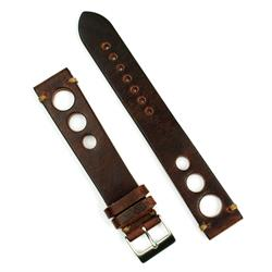 20mm 22mm Chestnut Vintage Rallye Watch Band Strap made from Italian leather with khaki stitching