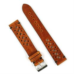 22mm classic vintage racing watch strap band in cognac leather with black stitch