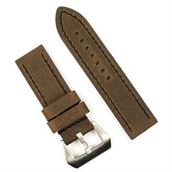 24mm leather watch band in a dark brown leather with black stitch