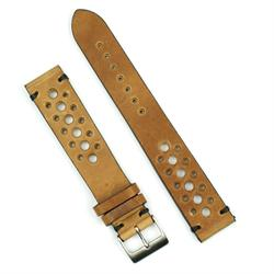 22mm vintage racing watch band strap in oak italian leather with black stitching