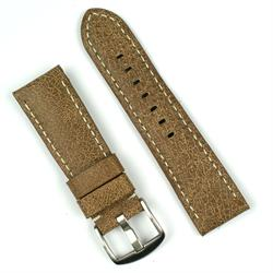24mm watch band in cracked vintage brown leather with white stitching