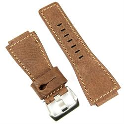 Bell and Ross replacement leather watch band in walnut ammo pouch style