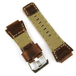 Bell and Ross Watch Band Strap made from Chestnut Leather and Drab Olive Canvas