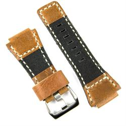 Bell & Ross Band Strap In Oak Italian Leather with Black Canvas