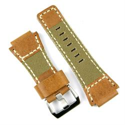 Bell and Ross Leather Canvas Watch Band Strap in Oak