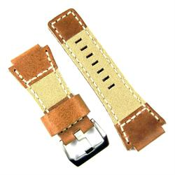 Bell and Ross Watch Band Strap made From Oak Italian Leather and Khaki Canvas