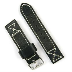 24mm Watch Strap made from Black Leather and Canvas