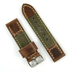 24mm Chestnut Leather and Olive Suede Watch Band