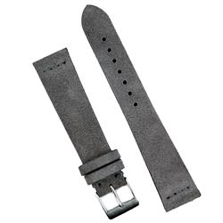 BandRBands 22mm Suede Vintage Watch Band Strap in Gray Italian suede with a matching stitch BandRBands