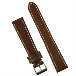 18mm 19mm 20mm brown Classic leather watch band strap with white stitching
