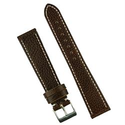 18mm 19mm 20mm Classic Leather Watch Band Strap in brown textured calfskin leather BandRBands