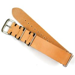 22mm Tan Vintage Leather Nato Watch Strap with Black Stitching